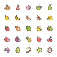 linha de frutas com ícone colorido vetor