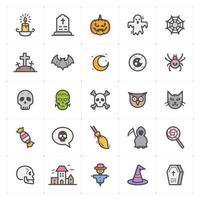 linha de halloween com ícone colorido vetor