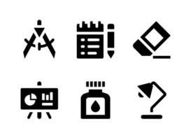 conjunto simples de ícones sólidos de vetor relacionados a papelaria