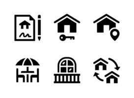 conjunto simples de ícones sólidos de vetor imobiliário