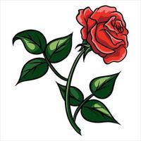 estilo cartoon rosa vermelha em um fundo branco vetor