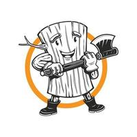 mascote do lenhador de madeira segurando o personagem do logotipo do mascote do machado vetor
