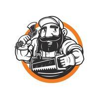 mascote lenhador barbudo segurando o machado e serra vetor