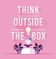 mulher de negócios e conceito de pensar fora da caixa vetor