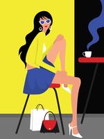 Menina com cabelo ondulado e ilustração vetorial de óculos vetor