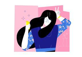 Garota engraçada com cabelo ondulado e óculos tomando Selfi Vector Illustration plana