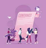 Aperto de mão de empresário e empresária após assinar contrato, conceito de transação bem-sucedida vetor