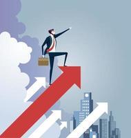 empresário de pé no sinal de seta. vetor de conceito de liderança