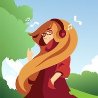 menina com cabelos ondulados e óculos vetor
