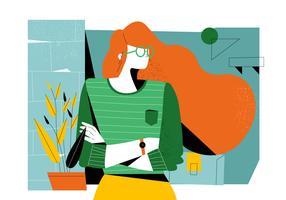 Pose de mulheres criativas bem sucedidas no Office Lounge Vector ilustração plana