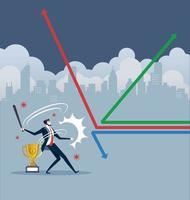 empresário balançando o taco de beisebol e acertando a flecha. vetor de conceito de negócio