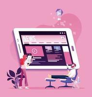leitura de notícias online. boletim informativo e informações vetor