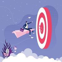 empresário voando em um avião de papel ir para o alvo. vetor de conceito de negócio