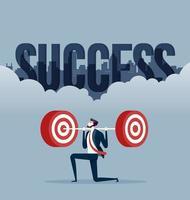 empresário com levantamento de peso. vetor de conceito de alvo de negócios