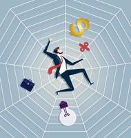 empresário ficar preso em uma teia de aranha. vetor de conceito de negócio