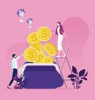 empresário e empresária tentando coletar dinheiro para uma bolsa. economizando dinheiro trabalhando vetor