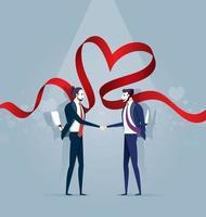 dois empresários mascarados apertam as mãos e seguram facas. conceito de vetor de negócios