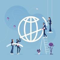 equipe de negócios ajuda a construir o signo global. conceito de economia global de negócios vetor