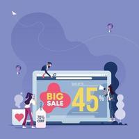 negócios trabalhando e anunciando online. conceito de mídia social vetor