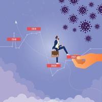 conceito de crescimento financeiro pandêmico de coronavírus. ajudando mão para negócios e economia vetor