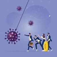 parar a pandemia de coronavírus causando crise financeira. conceito de liderança empresarial vetor
