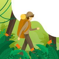 Ilustração em vetor plana selva exploradores