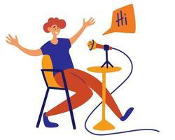 podcaster masculino falando com o personagem de desenho animado isolado de podcast de gravação de microfone. vetor