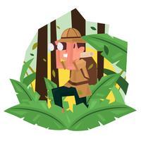 Ilustração em vetor de exploradores da selva