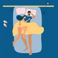 casal dorme junto. vista do topo. pose de dormir. dormir saudável na cama, colchão confortável e travesseiro. vetor