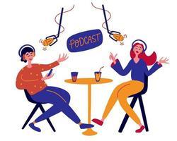 jovem entrevistando um convidado em um estúdio para um podcast. pessoas conversando com o podcast de gravação de microfone. vetor