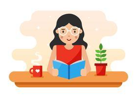 Menina, com, cabelo ondulado, e, óculos, leitura, um, livro, vetorial vetor