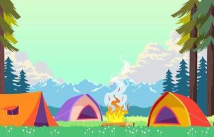 acampamento de verão com tenda vetor