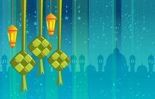conceito islâmico de ketupat e lanterna vetor