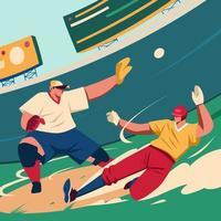 jogador de softball deslizando vetor