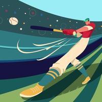 jogador de beisebol bate na bola vetor