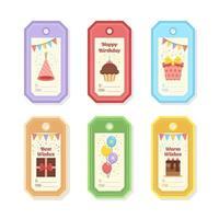 coleção colorida de etiquetas de presente de aniversário vetor