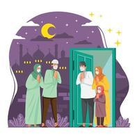 família e amigos comemorando eid com protocolo de saúde vetor