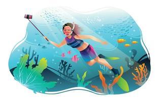 jovem mergulhando no oceano com câmera selfie vetor