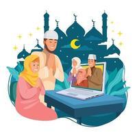 família e amigos comemorando eid com reunião online vetor
