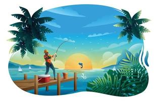 homem pegando um peixe com vara de pescar no cais vetor