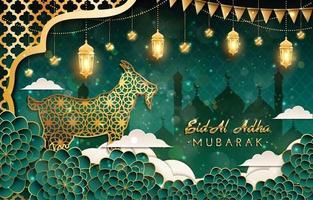 Fundo de eid al adha mubarak com conceito de cabra vetor
