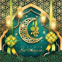 feliz eid mubarak com lua e cetupat vetor