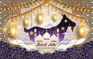 eid al adha mubarak com conceito de cabra e mesquita vetor