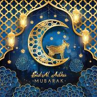 eid al adha mubarak com conceito de cabra e lua vetor