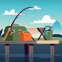 conjunto de equipamentos para pesca vetor