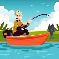 homem feliz pegando um peixe vetor
