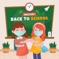 as crianças voltam para a escola enquanto seguem o protocolo de saúde vetor