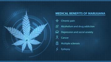benefícios médicos da maconha cartaz digital escuro e azul com infográfico e silhueta da folha de cannabis para benefícios do site, usos da maconha medicinal vetor
