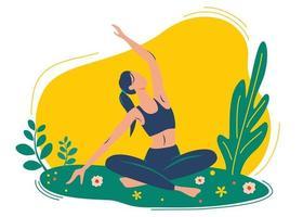 mulher faz exercícios de ioga, pose de ioga. o conceito de ioga ao ar livre. aulas de ioga na natureza. vetor