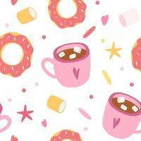 donut de padrão sem emenda e xícara de café. padrão sem emenda para tecido, papel de parede, banner ou papel de embrulho. vetor